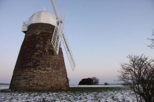 snow shadow of halnaker windmill